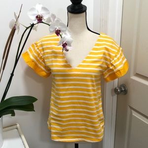 A New Day yellow striped blouse NEW Size M